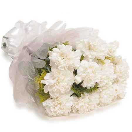 Send 10 White Carnations Eid Bouquet Online Kanpur Gifts