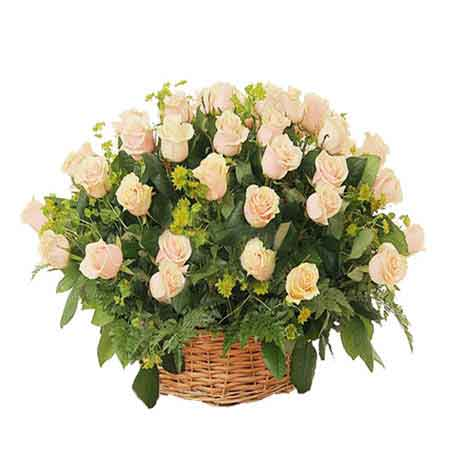 Send 25 White Roses Round Get Well Soon Basket Online Kanpur Gifts