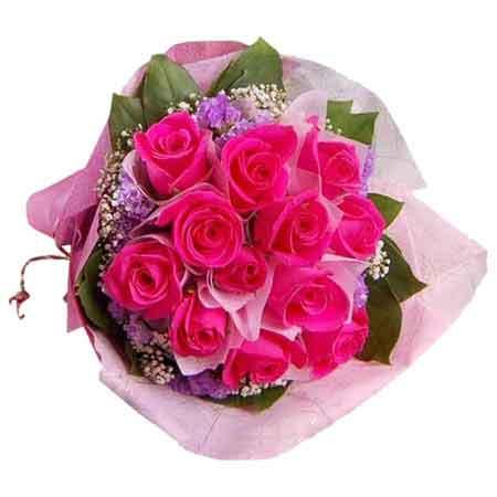 Send 12 pink roses pink paper rakhi bouquet online kanpur gifts mightylinksfo
