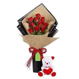 send 10 red roses bunch n Teddy Combo urgent delivery in Kanpur
