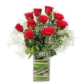 send 10 red roses glass vase same day delivery in Kanpur