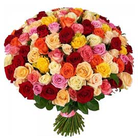 buy 100 assorted roses bunch same day delivery in kanpur