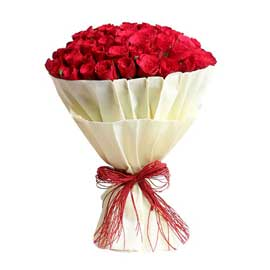 buy 100 roses white paper packing bunch same day delivery in kanpur