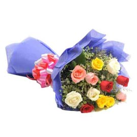 buy 12 mix roses blue paper bunch midnight delivery in kanpur