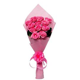 buy 12 dark pink roses pink paper bunch midnight delivery in kanpur
