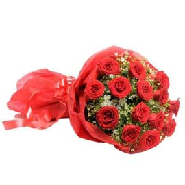 send 15 red roses red paper bunch urgent delivery in Kanpur