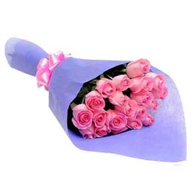 send 18 pink roses blue paper bunch urgent delivery in kanpur