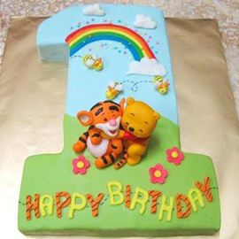 2 kg 1st birthday pooh cake midnight delivery in kanpur @ best cake shop