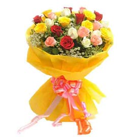 send 24 mix roses bunch midnight delivery in Kanpur