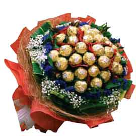 send online 24 pcs ferrero rocher bouquet delivery in kanpur