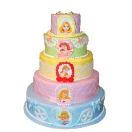 Send online 5 tier princess party vanilla cake delivery in kanpur