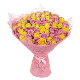 send 50 mix roses jute packing bunch same day delivery in kanpur