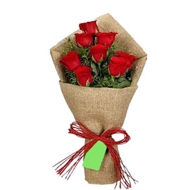 send 8 red roses jute bunch urgent delivery in Kanpur