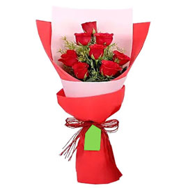 send 8 red roses cute bunch urgent delivery in Kanpur