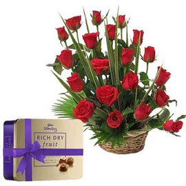 Same day online red roses basket n cadbury chocolate box in kanpur