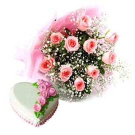 Buy online pineapple heart cake n 10 pink roses bunch in kanpur