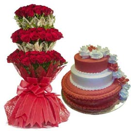Buy online 4 kg pineapple cake n 65 red rose grand bunch in kanpur