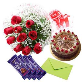 Gift  online cadbury chocolates, red roses n butter scotch cake in kanpur