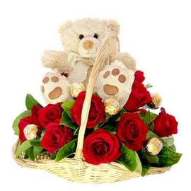 Same day online 20 red roses, cute teddy n ferrero rocher chocolates pack in kanpur
