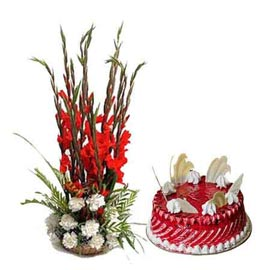 Gift online 1 kg strawberry cake n mix flower basket in kanpur