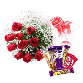 Same day online red roses bunch n assorted chocolates pack in kanpur