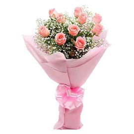send 12 baby pink roses designer bunch midnight delivery in kanpur