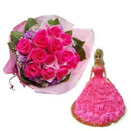 Buy online pineapple cake n 12 dark pink roses paper bunch in kanpur