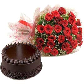 Buy online 1 kg chocolate truffle cake n 30 red roses combo in kanpur