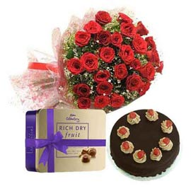 Gift online 25 red roses bunch, chocolates n cake in kanpur