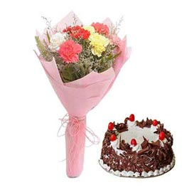 Send online black forest cake n mix carnations bunch in kanpur