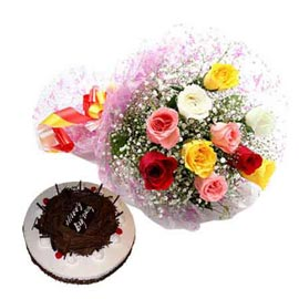 Send online black forest cake n mix roses bunch in kanpur