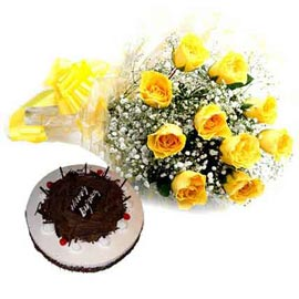 Send online Black forest n yellow roses in kanpur