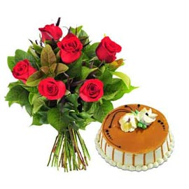 Send Online Butter Scotch N 6 Red Roses Bunch In Kanpur