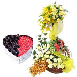 Send online 1 kg black forest cake n mix flower basket in kanpur
