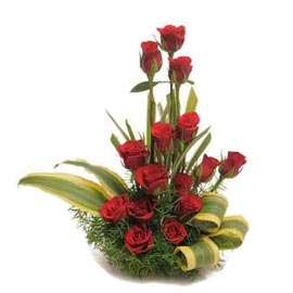 send 15 red roses cane basket 24 hrs delivery in kanpur