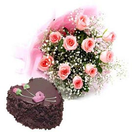 Send online chocolate cake n pink roses designer bunch in kanpur