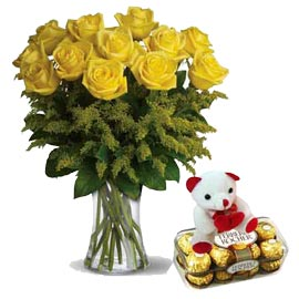 Xpress online yellow roses in vase, teddy n rocher chocolates in kanpur