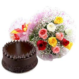 Send online half kg chocolate cake n mix roses bunch in kanpur