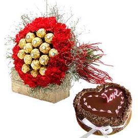 Send carnations Chocolates n chocolate cake in kanpur