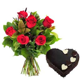 buy online Chocolate heart cake n 6 red roses bunch in kanpur