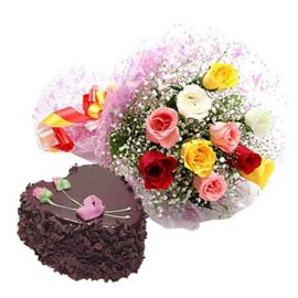 Send same day 1 kg chocolate cake n mix roses bunch in kanpur