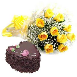 Buy online Chocolate heart cake n yellow roses basket in kanpur