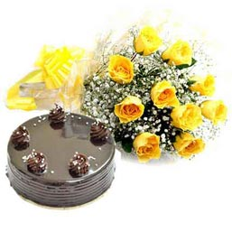 24 Hrs online Chocolate truffle cake n yellow rose bunch in kanpur