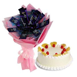 Xpress online Chocolate bouquet n pinapple cake combo in kanpur