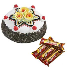 Send online five star chocolates n black forest cake in kanpur