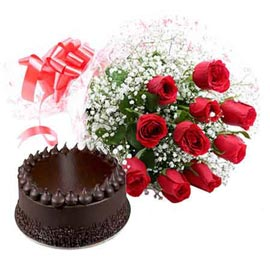 same day online Chocolate cake n red roses in kanpur