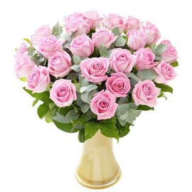 buy 20 pink roses glass vase urgent delivery in Kanpur