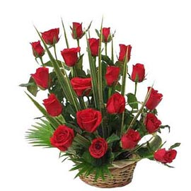 send 20 red roses cane basket 24 hrs delivery in kanpur