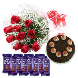 Gift online red roses, dairy milk chocolates n cake in kanpur