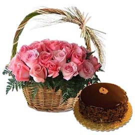 same day online chocolate cake n pink roses cane basket in kanpur